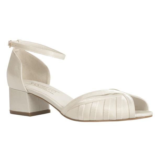 Sandália Baixa Grossa De Noiva Off White