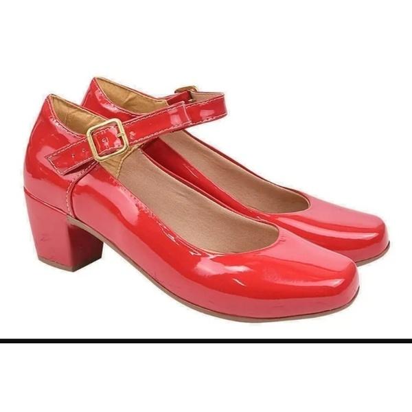 Sapato Boneca salto baixo Vermelho