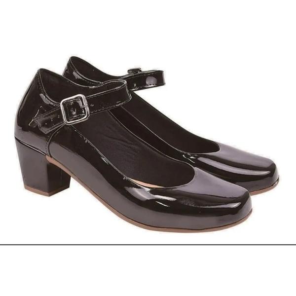 Sapato Boneca salto baixo Preto