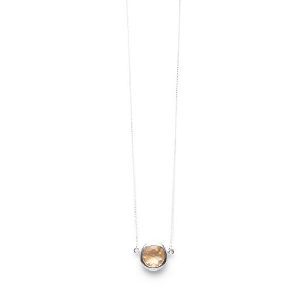 Colar Em Prata 925 Com Citrino Natural e Lapidação Brilhante - Farol | Coleção Prisma