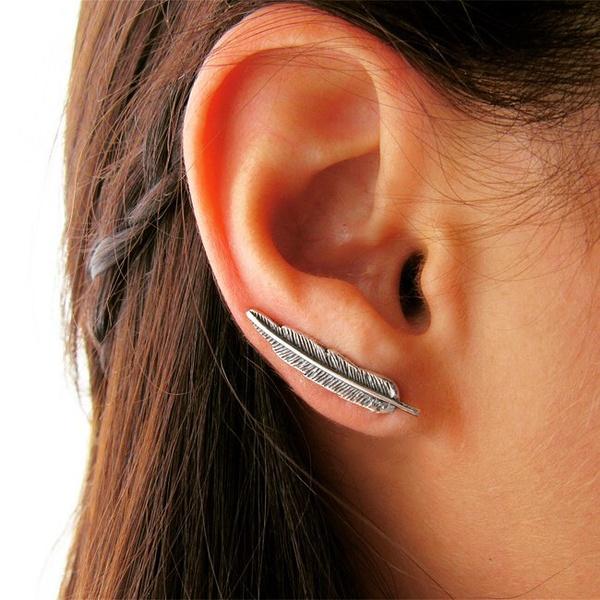 Brinco Ear Cuff Em Prata 925 Oxidada - Pena   Coleção Amazônia