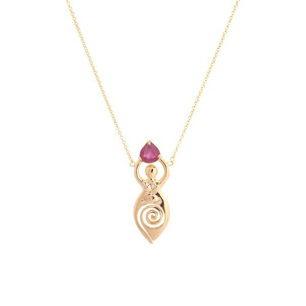 Colar Deusa G com Turmalina Rosa Gold   Coleção Guta Virtuoso