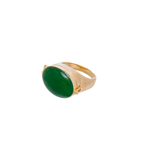 Anel Relicário Dourado com Jade Verde
