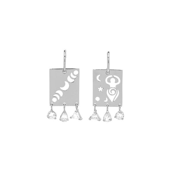 Brinco Calendário Lunar Translúcido Prata | Coleção Guta Virtuoso