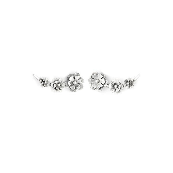 Brinco Ear Cuff Em Prata 925 Oxidada - Flowers   Coleção Flora