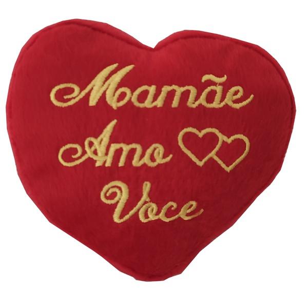 Coração de pelúcia Mamãe Amo Você