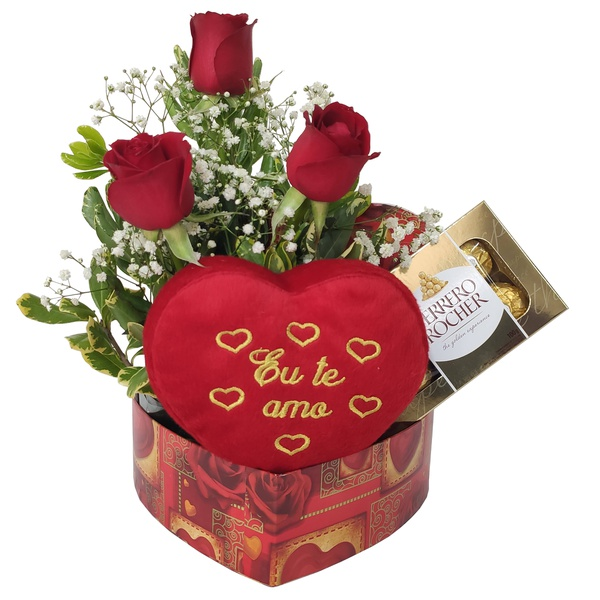 Caixa em formato de coração com rosas , coração de pelúcia e chocolate ferrero rocher