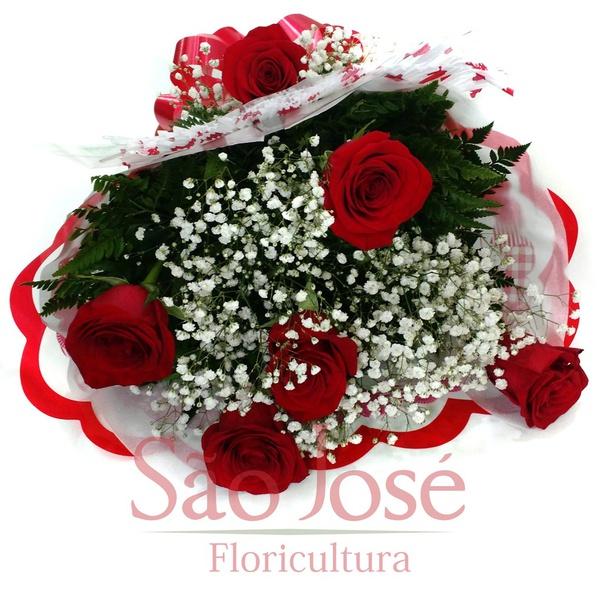 Buquê Clássico com 6 Rosas Vermelhas