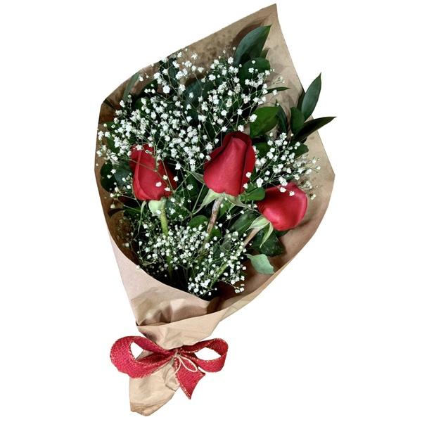 Ramalhete Love com 3 rosas vermelhas