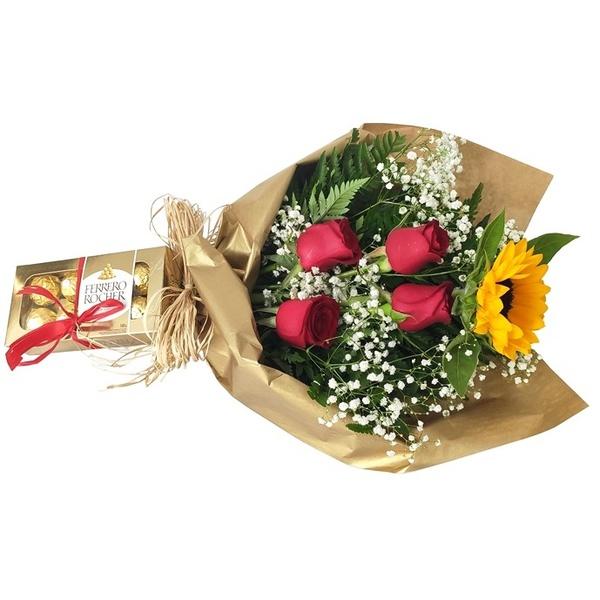 Ramalhete de rosas com girassol e caixa de ferrero rocher