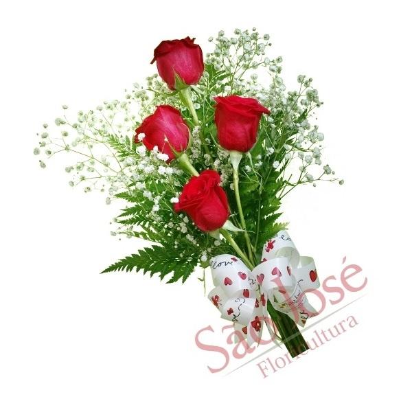 Ramalhete Ocasiões com 4 rosas vermelhas