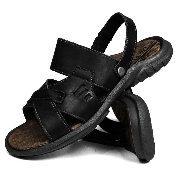 Sandália Deck masculino em couro preta 2200