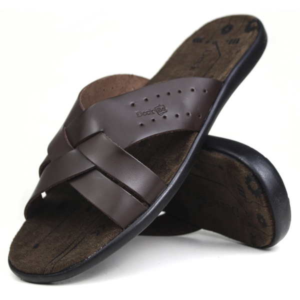 Chinelo Deck masculino em couro chocolate 5050