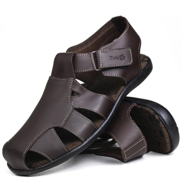 Sandália Deck masculino em couro chocolate 6400