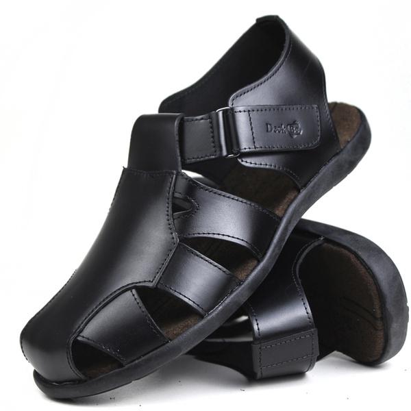 Sandália Deck masculino em couro preta 6400