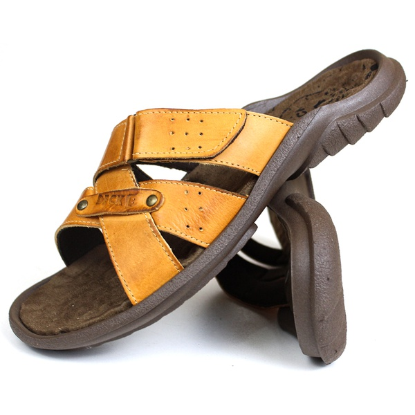 Chinelo Deck masculino em couro whisky 5000rp