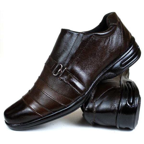 Sapato Social Free Shoes Confort em Couro Café 765rp