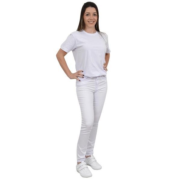 Calça Feminina Bivik Jeans Cigarrete Sarja Branca Cós Alto