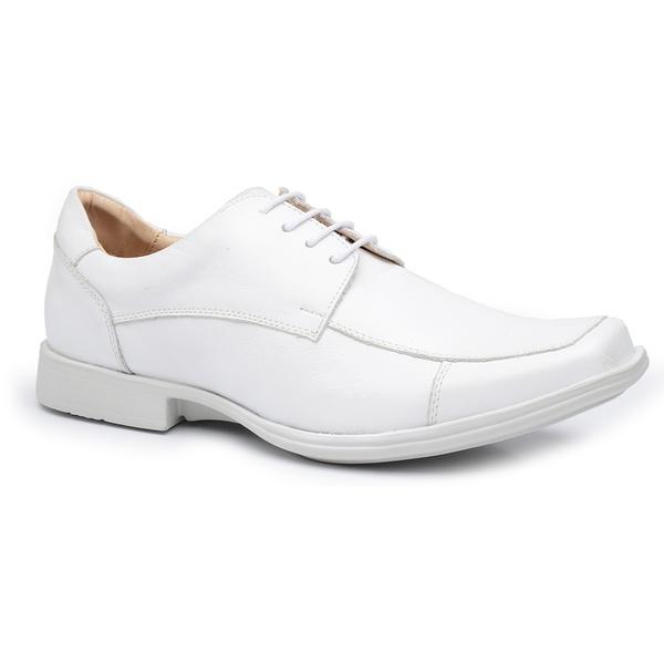 Sapato Masculino Branco de Cadarço -Couro Natural