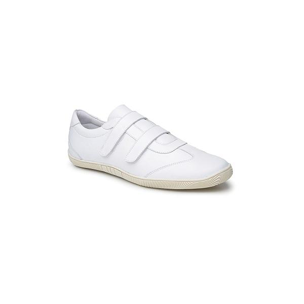 Sapato Masculino Branco em Couro - Modelo de Velcro -Fechado -Atende NR32