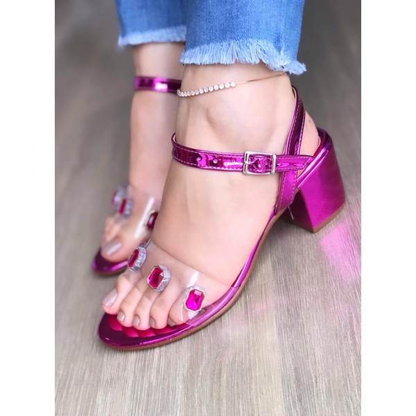 Sandalia Bloco Rosa Metalizado com Pedraria