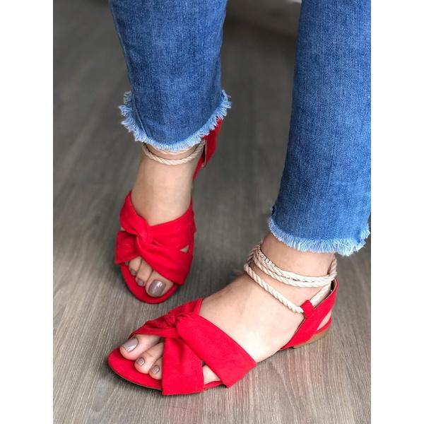 Sandalinha Baixa Com Amarração Vermelha
