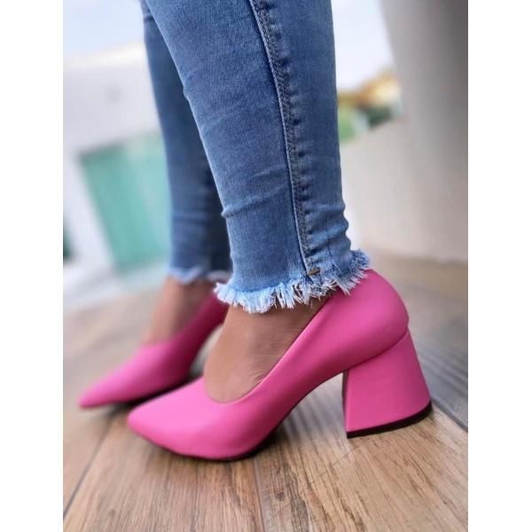 Scarpin Salto Grosso Pink