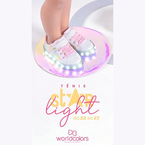 Tênis Infantil World Colors Star Light com LED