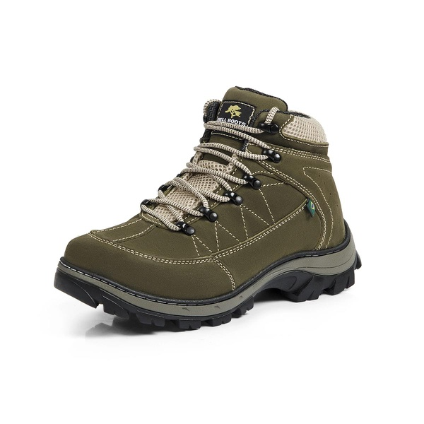 Bota Adventure Casual Couro Nobuck Hiking Extreme Bell Boots - 900 - Oliva - 894