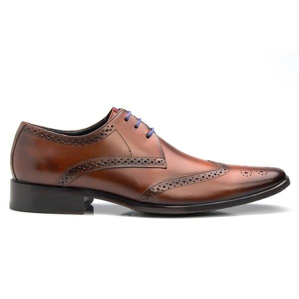 Sapato Brogue Masculino De Amarrar Solado Em Couro
