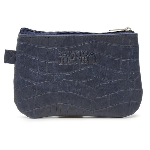 Bolsa de Mão em Couro Legítimo - Azul Marinho Croco