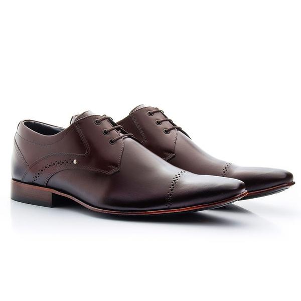 Sapato Social Clássico em Couro cor Mouro Ref.1479-377