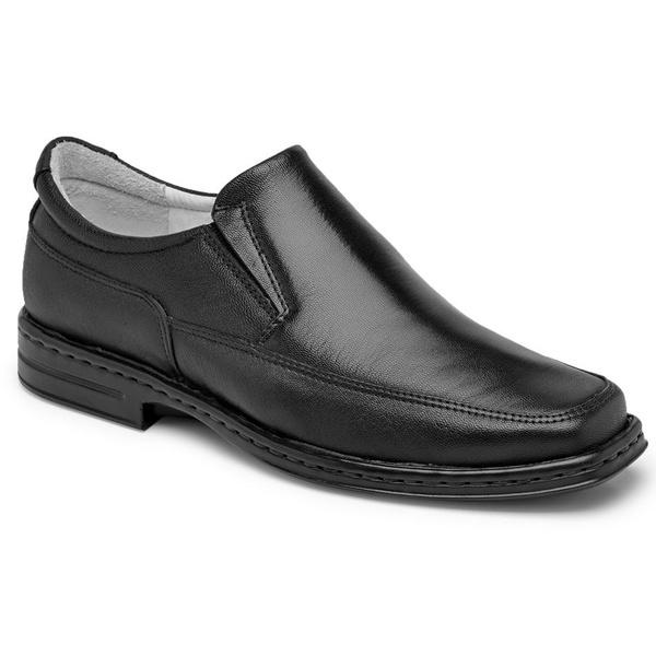 Sapato Conforto Em Couro Preto Ref. 453-7001