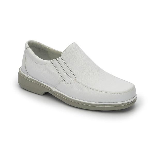 Sapato Masculino Conforto Em Couro Cor Branco Ref.1242-606