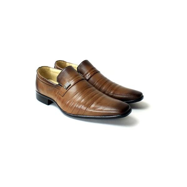 Sapato Social em Couro cor Conhaque
