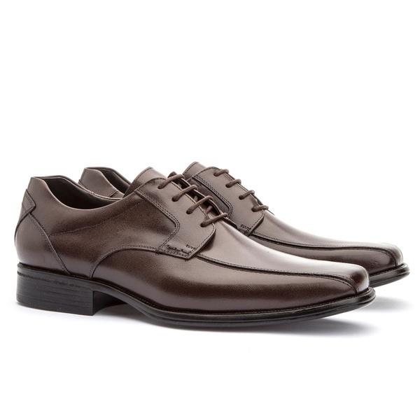 Sapato Social Masculino Kire Gel Em Couro Ref-1171 Café
