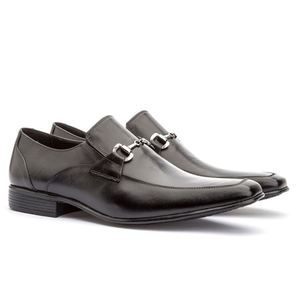 Sapato Social Masculino Leblon Em Couro Ref-654 Preto