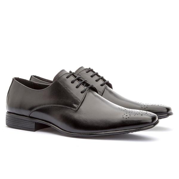 Sapato Social Masculino Leblon Em Couro Ref-655 Preto