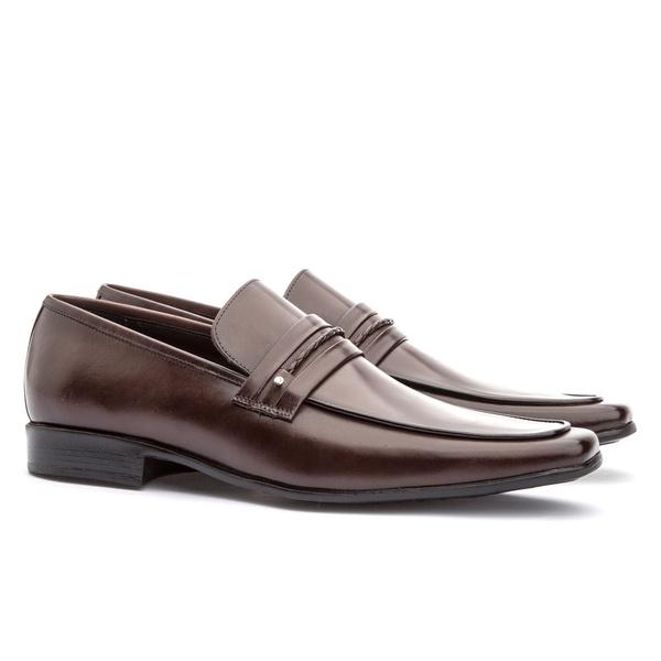 Sapato Social Masculino Slim Em Couro Ref-809 Café