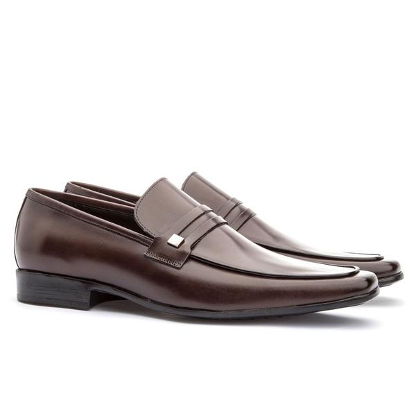 Sapato Social Masculino Slim Em Couro Ref-812 Café
