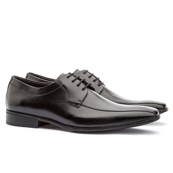 Sapato Social Masculino Stuart Em Couro Ref-2100 Preto