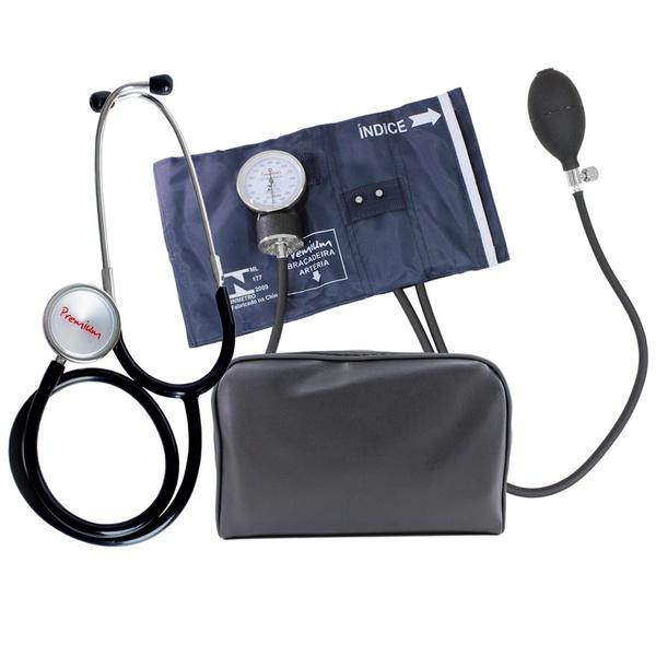 Esfigmomanômetro Aneroide Nylon Fecho Em Metal Com Estetoscópio Premium