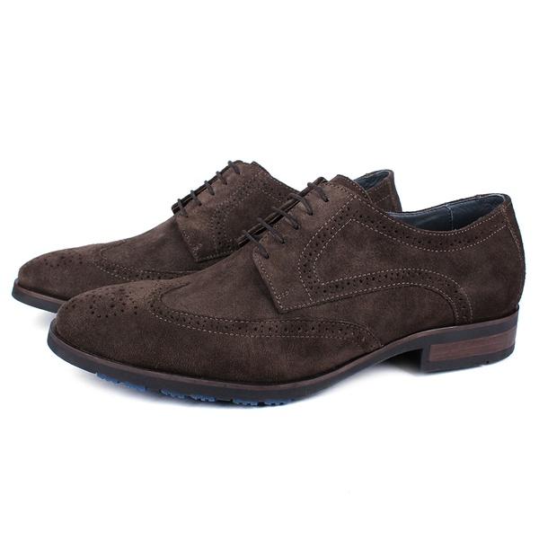 Sapato Masculino Derby Mônaco Em Couro Suede Café Savelli
