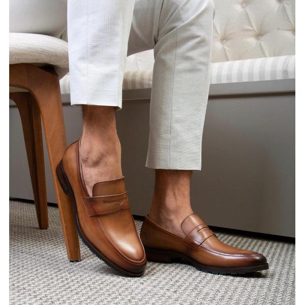 Sapato Masculino Loafer Mônaco Em Couro Látego Tan Savelli