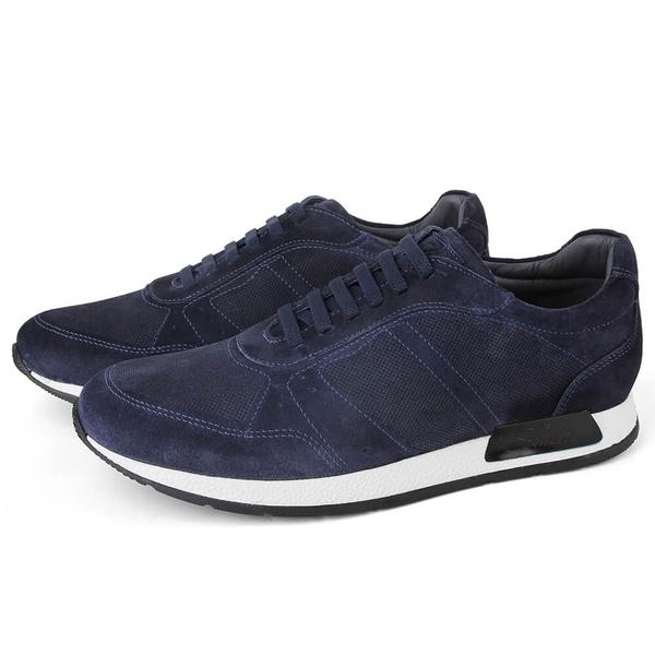 Sapato Casual Jogging Em Couro Navy Savelli
