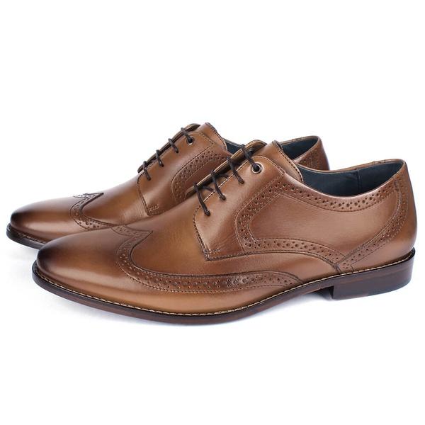 Sapato Masculino Derby em Couro Tan Savelli