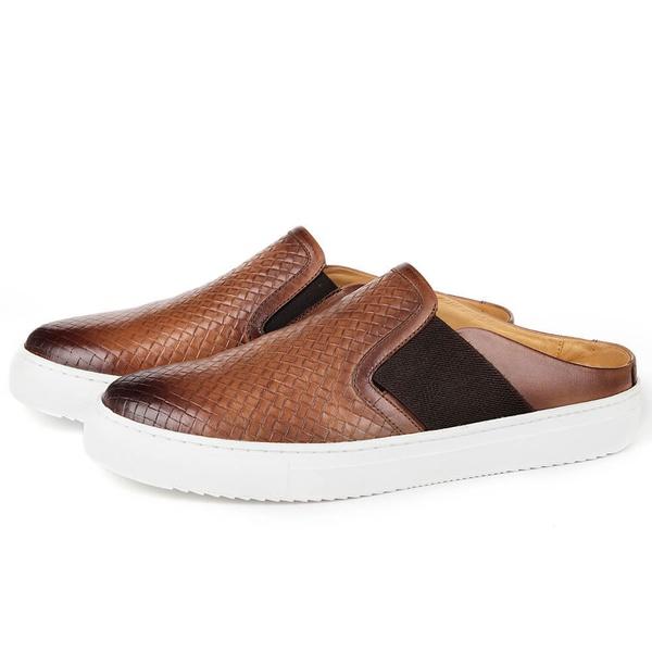 Sapato Mule Masculino em Couro Tan Savelli