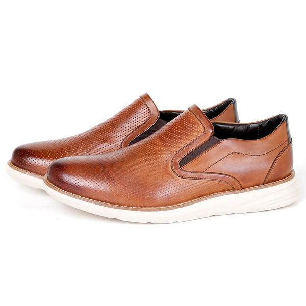 Sapato Conforto Casual em Couro Havana/Marinho Savelli