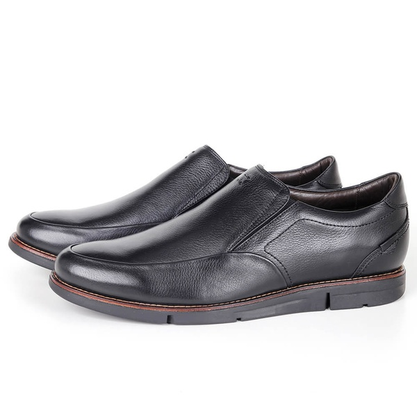 Sapato True Tech Casual em Couro Preto Savelli