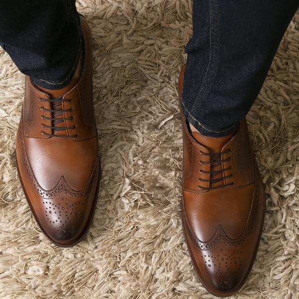 Sapato Masculino Derby Mônaco Em Couro Látego Havana Savelli